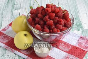 Для приготовления яблочно-малинового сока на зиму нам понадобятся яблоки, свежая малина, сахар.