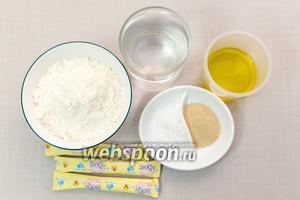 Для приготовления нам понадобятся: соль, сахар, дрожжи, мука, оливковое масло, вода.