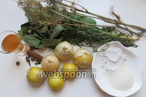 Берём Физалис, зелень (листья вишни, смородины), тархун, хрен, душистый перец, гвоздика, палочки корицы, уксус.