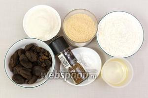 Для приготовления нам понадобятся: сахар, соль, разрыхлитель, лимон (из него мы выжмем сок), курага, изюм, подсолнечное масло, мука, кокосовая стружка, ванилин, яйца куриные, молоко.