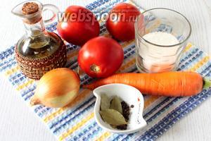 Для приготовления нам понадобятся помидоры, репчатый лук, морковь, масло растительное, соль, сахар, перец чёрный горошком, лавровый лист и уксус столовый 9%.