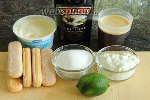 Подготовим ингредиенты: крем-фреш, творог (жирность 0%), ликёр Бейлис, кофе, сахар, лайм и печенье Савоярди.