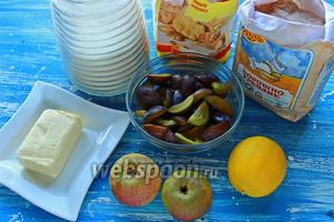 Для крамбла, понадобятся: мука гречневая, пшеничная, масло (холодное!), масло для смазывания форм, сахар, сливы, груши, цедра лимона и лимонный сок (0,5 лимона), орехи грецкие или фундук (но не миндаль, кешью...).