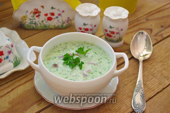 Фото Огуречный суп с отварным языком и фасолью
