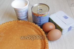 Итак, возьмём такие продукты: бисквит, сгущённое молоко варёное, сметану, масло, белки.