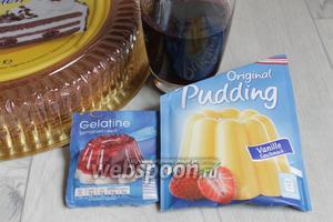 Итак, возьмём готовый любой бисквит, желатин, сок вишнёвый, пудинг.