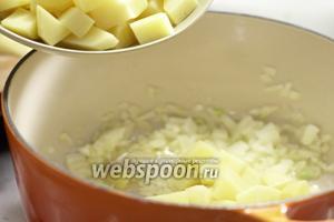 Добавляем в кастрюлю масло, обжариваем лук до прозрачной кожицы. Добавляем картофель.