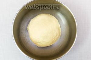 Вымешиваем мягкое тесто. Кладём его в миску, смазанную маслом. Накрываем плёнкой и ставим в тёплое место на 1 час.