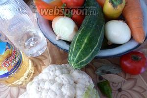 Подготовим овощи, почистим и вымоем их. Нам нужны лук, морковь, помидоры, огурцы, сладкий перец и цветная капуста. А также соль, сахар, растительное масло и специи.