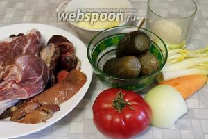 Для рассольника взять солёные огурцы, мясо, потрошки гусиные, масло, рис, морковь, картофель, лук, помидор, сельдерей, зелень, пряности (по вкусу).