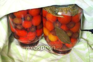 Банки перевернуть и оставить до полного остывания, накрыв покрывалом. Маринованные помидоры со сливами готовы. Приятных вам заготовок!