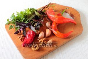 Для приготовления аджики нам понадобятся следующие продукты: перец острый, чеснок, орехи грецкие, соль, кориандр, зелень петрушки и свежий базилик.