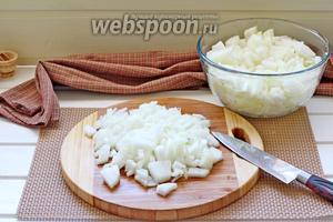 Пока помидоры доходят до кипения, лук очистить и нарезать кубиком.
