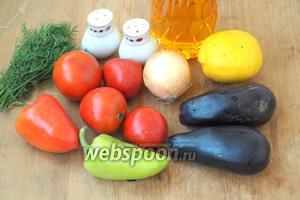 Для салата возьмём баклажаны, болгарский перец, помидоры, лук, укроп, перец, соль, подсолнечное масло и лимон. Перец желательно взять разных цветов, так будет интереснее.