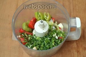 Перец очистить от семян, нарезать кусочками. Помидор разрезать, удалить плодоножку и нарезать ломтиками. Нарезать лук репчатый и зелёный, измельчить петрушку. Сложить всё в блендер.