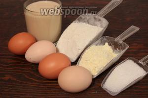 Для блинчиков, понадобятся: 2 вида муки, молоко топлёное (жирное), яйца, сахар, соль, масло.