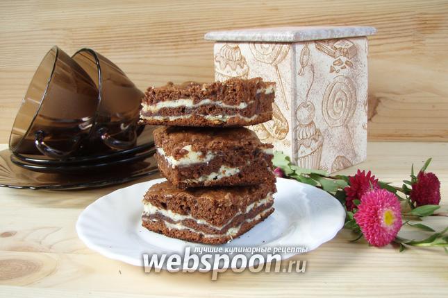 Фото Шоколадно-творожный мраморный пирог