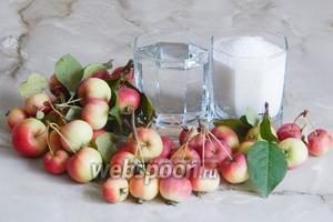 Для того, чтобы заготовить на зиму компот из райских яблочек, нам нужны сами яблочки, вода и сахар.