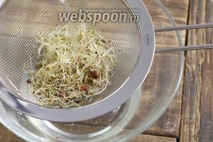 Прополоскайте через дуршлаг соевые ростки.