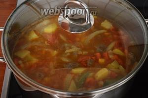 Накрыть крышкой кастрюлю, довести суп до кипения и затем, убавив огонь до среднего, варить 30 минут. Суп готов. При подаче посыпать рубленым укропом. Приятного аппетита!