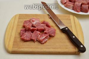 Мясо нарезать небольшими кусочками.