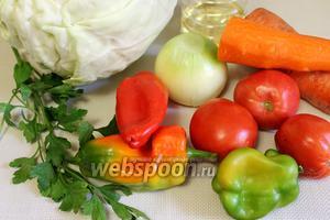 Для приготовления консервов возьмём сладкие разноцветные перцы, капусту, крупные морковь и лук, помидоры, масло подсолнечное, петрушку, лавровый лист, паприку, чёрный молотый перец.
