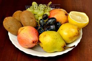 Для приготовления канапе нам понадобятся груши, некрупный виноград двух цветов, киви, лимон. Не забудем про шпажки и о парочке гвоздичек для глаз ёжика.