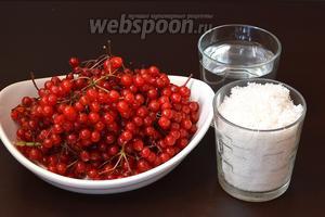 Для приготовления калинового сока на зиму нам понадобится калина, вода, сахар.