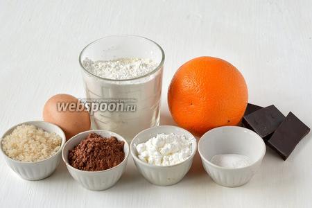 Для приготовления двух бисквитов — апельсинового и шоколадного нам понадобится сахар, яйца, мука, крахмал картофельный, какао, шоколад чёрный, разрыхлитель, вода, апельсин.