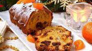Фото рецепта Рождественский кекс с мандаринами и сухофруктами