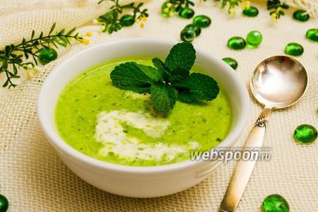 Суп-крем из зелёного горошка с мятой
