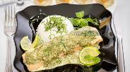Фото рецепта Паровая сёмга в сливочно-шпинатном соусе