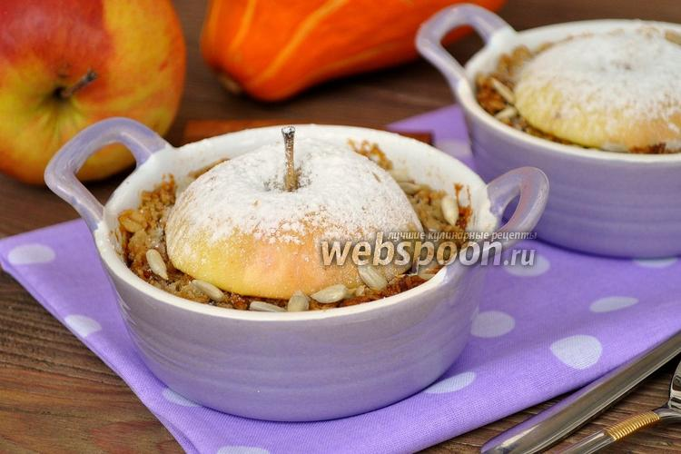 Фото Геркулесовый крамбль с яблоками и семенами
