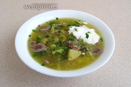 При подаче разлить рассольник по тарелкам, добавить сметану и посыпать измельчённой зеленью петрушки.