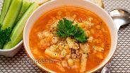 Фото рецепта Томатный суп с куриным фаршем и макаронами