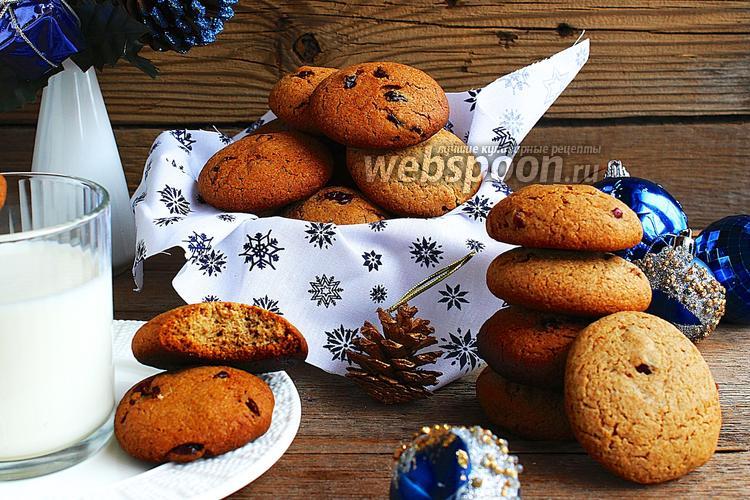 Фото Овсяно-ржаное печенье с клюквой