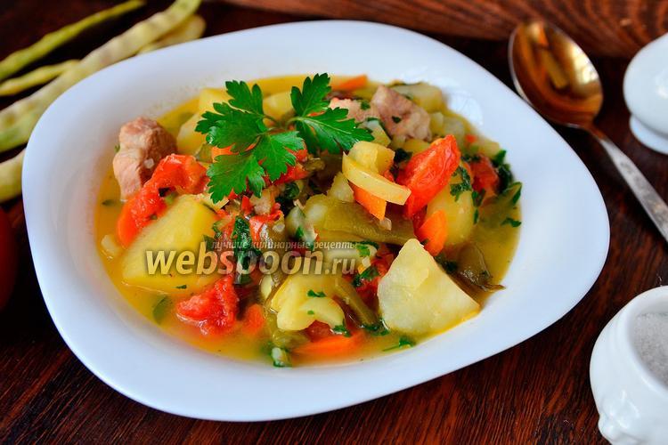 Фото Рагу с мясом, картофелем, фасолью и помидорами