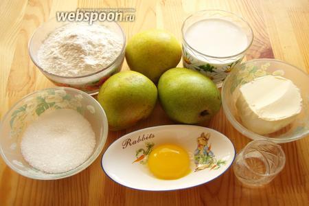 Для приготовления грушевого тарта нам понадобятся: груши, мука, сахар, яйца, жирные сливки, сливочное масло, холодная вода.