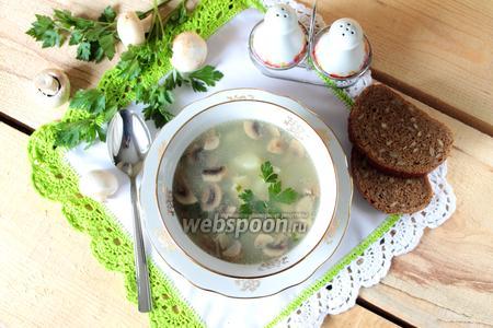 Фасолевый суп с клёцками и грибами в мультиварке