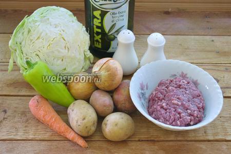 Для приготовления супа нам понадобятся: капуста белокочанная, морковь, болгарский перец, лук, фарш говяжий, растительное масло и специи.