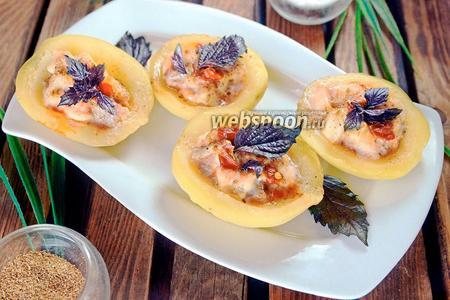 Фото рецепта Тарталетки из отварного картофеля с морским языком