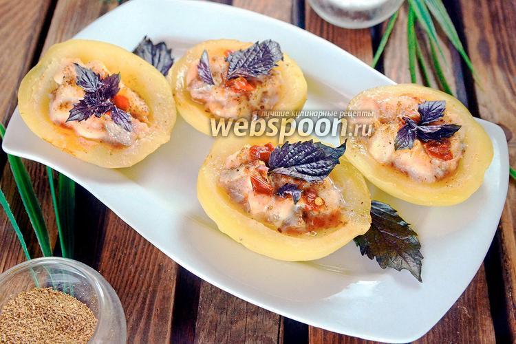Фото Тарталетки из отварного картофеля с морским языком