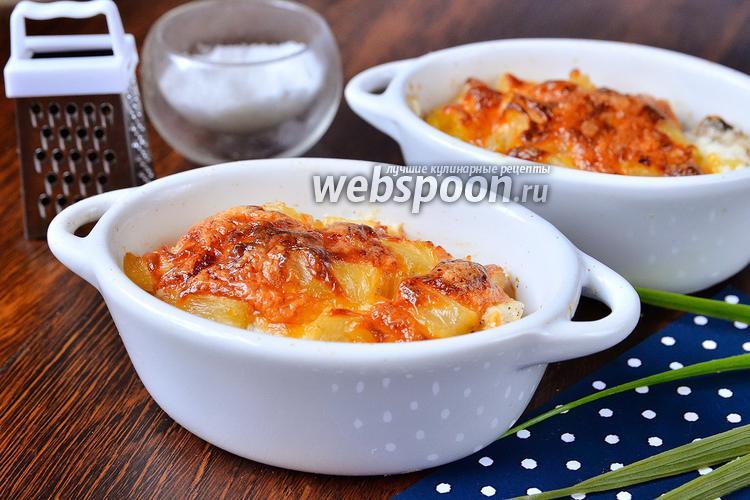 Фото Запечённое куриное мясо в горшочках с помидорами и ананасами