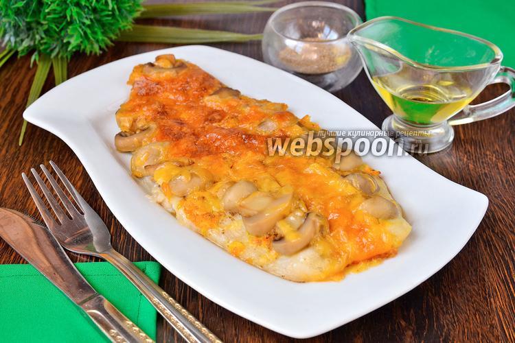 Фото Запеченный морской язык под кумкватовым соусом с грибами и сыром