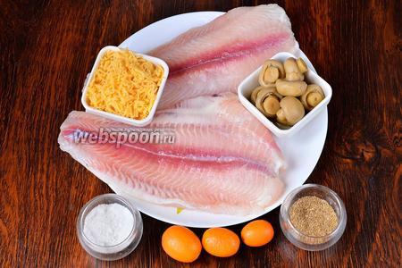 Для приготовления запеченного морского языка вам понадобится сыр, кумкваты, грибы маринованные, соль, кориандр и морской язык.
