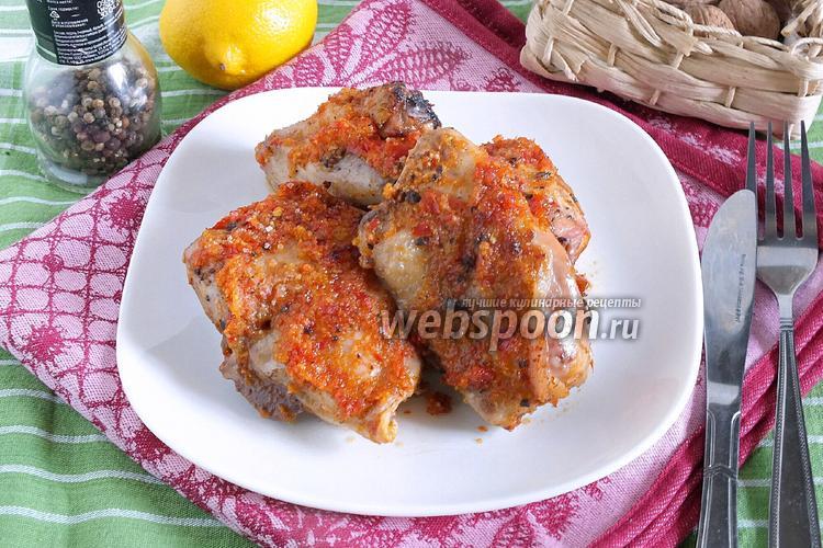 Фото Курица, запечённая в луково-перечном пюре