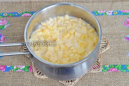 В горячее молоко опустить тыкву и варить на среднем огне минуты 3-4 после того как молоко закипит.