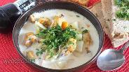 Фото рецепта Сливочный суп с мидиями и копчёным лососем