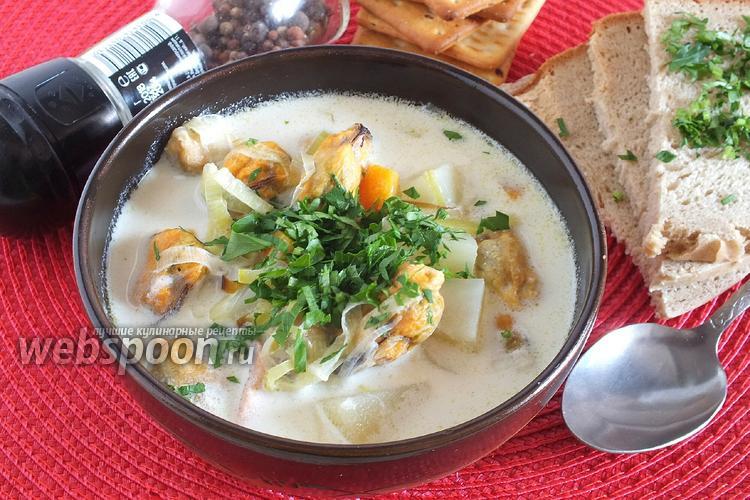Фото Сливочный суп с мидиями и копчёным лососем