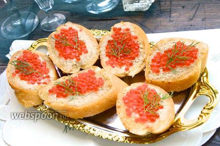 Бутерброды с печенью трески и красной икрой